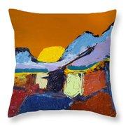 Orange Evening Throw Pillow
