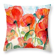 Orange Field Of Poppies Watercolor Throw Pillow