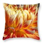 Orange Floral Art Dinner Plate Dahlia Flower Throw Pillow