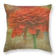 Orange Floral Fantasy Throw Pillow