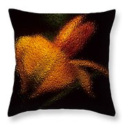 Orange Floral In Abstract Throw Pillow