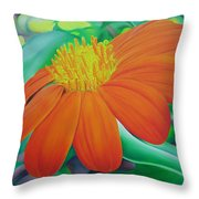 Orange Flower Throw Pillow