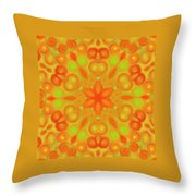 Orange Flower Mandela Throw Pillow