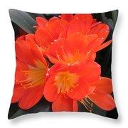 Bright Orange Flowers Throw Pillow