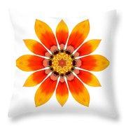 Orange Gazania I Flower Mandala White Throw Pillow