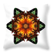Orange Gazania IIi Flower Mandala White Throw Pillow