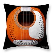Orange Guitar Baseball White Laces Square Throw Pillow