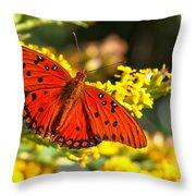 Orange Gulf Fritillary Throw Pillow