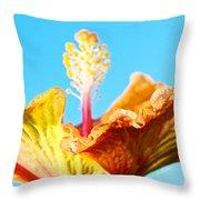 Orange Hibiscus Texture I Throw Pillow