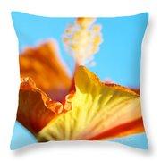 Orange Hibiscus Texture II Throw Pillow
