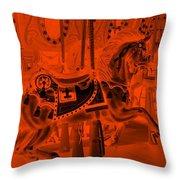 Orange Horse Throw Pillow