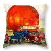 Orange Julep With Antique Cars Throw Pillow by Carole Spandau
