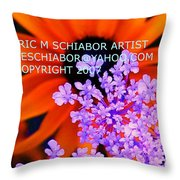 Orange Lavender Flower Throw Pillow