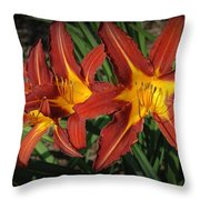 Orange Lillies Throw Pillow