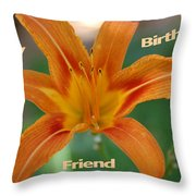 Orange Lily Birthday Throw Pillow