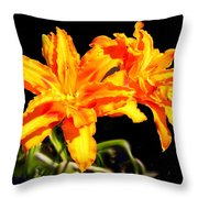 Orange Lily Twins Throw Pillow