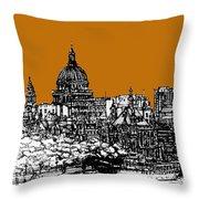 Dark Ink With Bright Orange London Skies Throw Pillow