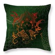 orange Lord Ganesha on green Mandala Throw Pillow
