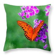 Orange Monarch Butterfly Throw Pillow