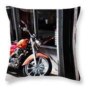 Orange Motorcycle Throw Pillow