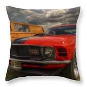 Orange Mustang Throw Pillow