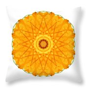 Orange Nasturtium I Flower Mandala White Throw Pillow