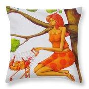 Orange Olga Throw Pillow