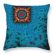 Orange On Blue Abstract Throw Pillow