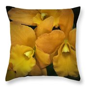 Orange Orchid Group Throw Pillow