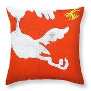 Orange Palm Springs Idyll Throw Pillow
