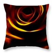 Orange Passion Rose Throw Pillow