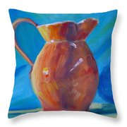 Orange Pitcher Still Life Throw Pillow