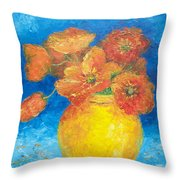 Orange Poppies In Yellow Vase Throw Pillow