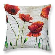 Orange Poppies Original Abstract Flower Painting By Megan Duncanson Throw Pillow