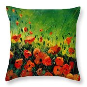 Orange Poppies  Throw Pillow by Pol Ledent