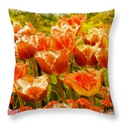Orange Princess Fringed Tulips Throw Pillow