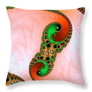 Orange Red And Green Abstract Fractal Art Throw Pillow