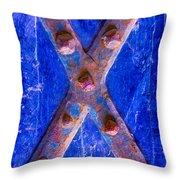 Orange Red X Throw Pillow