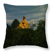 Orange Rock Among The Trees Throw Pillow