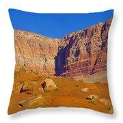 Orange Rock Before The Cliffs Throw Pillow