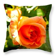 Orange Rose Bloom Throw Pillow