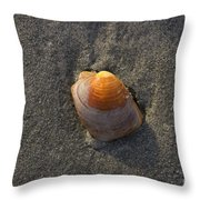 Orange Seashell Throw Pillow