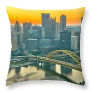 Orange Skies And A Red Car Throw Pillow