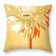 Orange Slice Zinnia Throw Pillow
