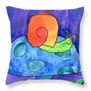 Orange Snail Throw Pillow