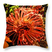 Orange Spice Floral  Throw Pillow