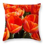 Orange Spring Tulip Flowers Art Prints Throw Pillow