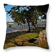 Orange Street Pier Bench Throw Pillow