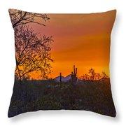 Orange Sun Setting Throw Pillow