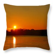 Orange Sunrise Over Dc Throw Pillow